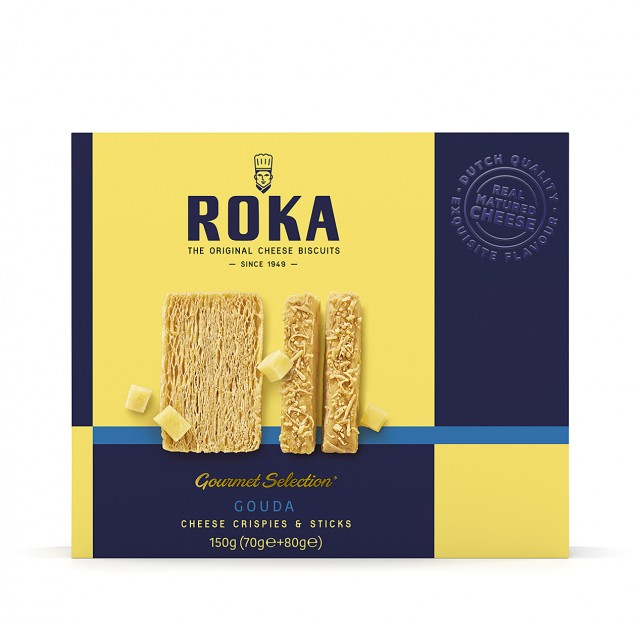 ROKA Gourmet Selection Cheese Crispies Gouda Cheese and Cheese Sticks Gouda Cheese 150g