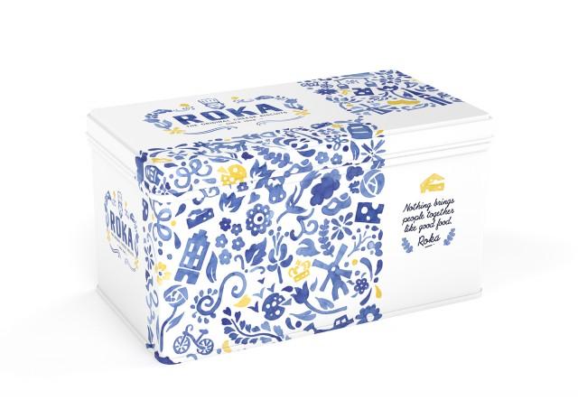 ROKA Cheese Crispies Gouda Cheese 2x70g - Delft Blue tin 1